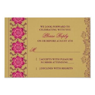 Henna Raisin Pink Gold Indian Wedding RSVP Reply Card