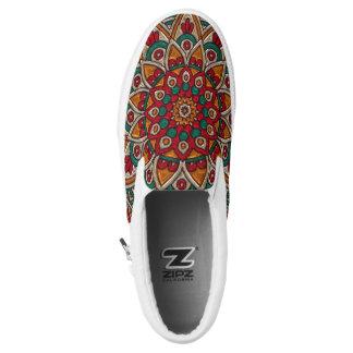 Henna Style Red Orange Green Floral SlipOn Sneaker Slip On Shoes
