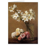 Henri Fantin-Latour Roses and Lilies Note Card