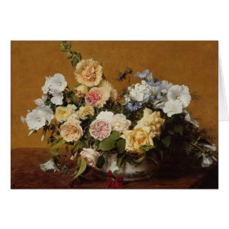 Henri Latour- Bouquet of Roses and Other Flowers Card