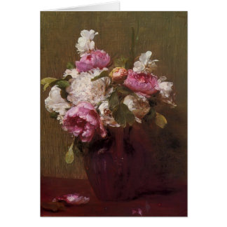 Henri Latour- White Peonies and Roses Narcissus Greeting Cards