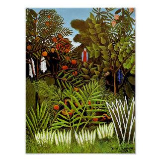 Henri Rousseau - Exotic Landscape Jungle Art Poster