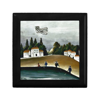 Henri Rousseau - The Fishermen and the Biplane Small Square Gift Box