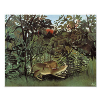 Henri Rousseau - The Hungry Lion Attacking Art Photo
