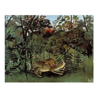Henri Rousseau - The Hungry Lion Attacking Postcard