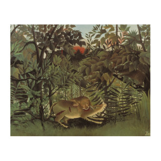 Henri Rousseau - The Hungry Lion Attacking Wood Print