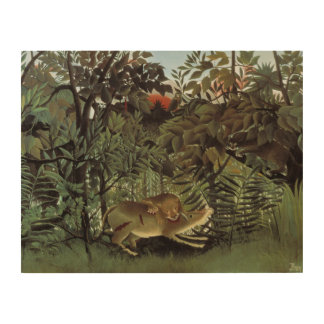 Henri Rousseau - The Hungry Lion Attacking Wood Wall Art