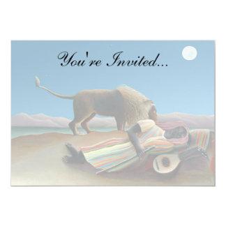 Henri Rousseau - The Sleeping Gypsy 13 Cm X 18 Cm Invitation Card