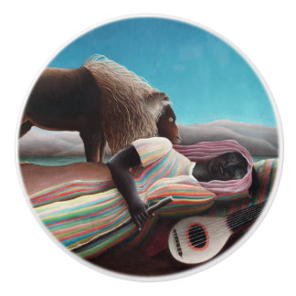 Henri Rousseau The Sleeping Gypsy Vintage Ceramic Knob