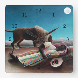 Henri Rousseau The Sleeping Gypsy Vintage Square Wall Clock