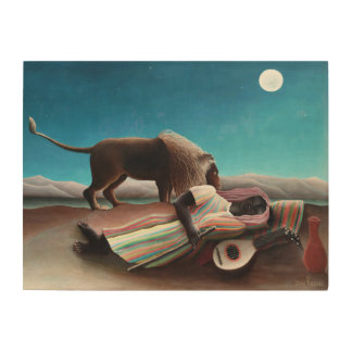 Henri Rousseau The Sleeping Gypsy Vintage Wood Print