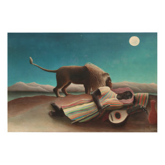Henri Rousseau The Sleeping Gypsy Vintage Wood Wall Art