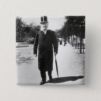 Henrik Ibsen (1828-1906) in Oslo, 1896 (b/w photo) 15 Cm Square Badge