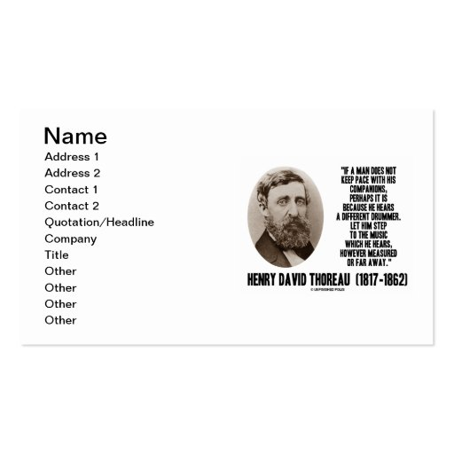 Henry David Thoreau Different Drummer Quote Business Card