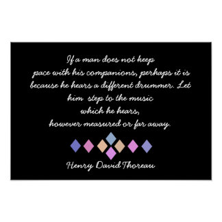 Henry David Thoreau - Different Drummer quote Poster