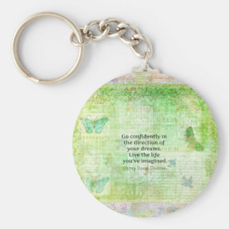 Henry David Thoreau Dream Quote with nature theme Basic Round Button Key Ring