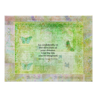 Henry David Thoreau Dream Quote with nature theme Poster