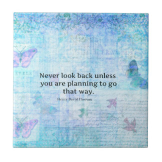 Henry David Thoreau Inspirational quote with art Tile