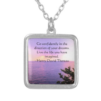 Henry David Thoreau QUOTATION Silver Plated Necklace