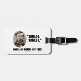 Henry David Thoreau Simplify Simplify Quote Tag For Luggage