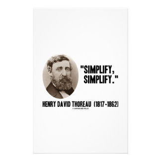 Henry David Thoreau Simplify Simplify Quote Personalized Stationery