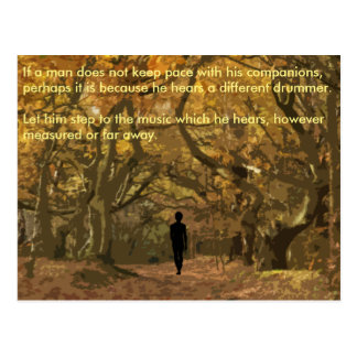 Henry David Thoreau spiritual drum beat Postcard