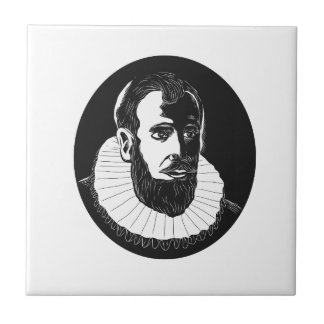 Henry Hudson Explorer Woodcut Ceramic Tile