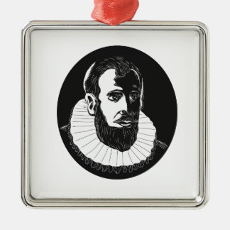 Henry Hudson Explorer Woodcut Metal Ornament