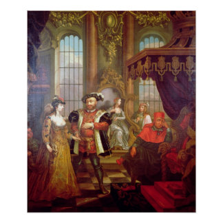 Henry VIII  introducing Anne Boleyn at court Poster