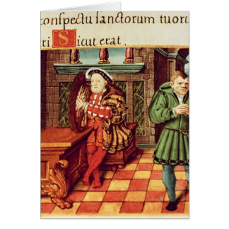 Henry VIII Playing a Harp with his Fool Wil Card