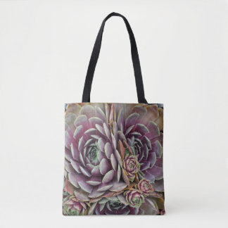 Hens and chicks cactus plant tote bag