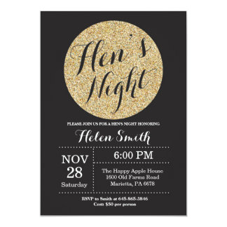 Hens Night Black and Gold Glitter Invitation Card