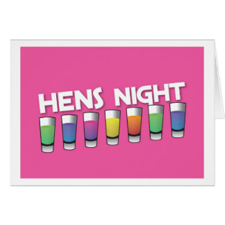 Hens night with Alcohol spirit shots Card