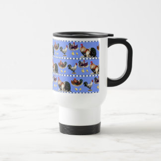 Hens, Roosters, and Chicks Travel Mug