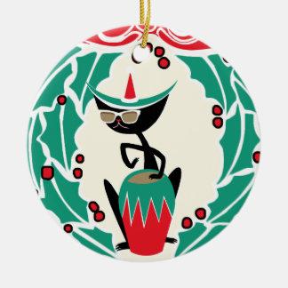 Hep Cat Retro Christmas (Personalized) Ceramic Ornament