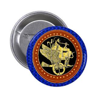 Hephaestus blue 6 cm round badge
