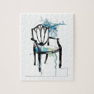 Hepplewhite Chair - Watercolor Jigsaw Puzzle