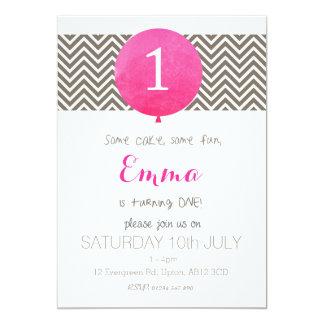 Her 1st Birthday 13 Cm X 18 Cm Invitation Card