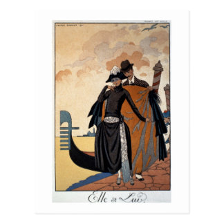Her and Him, Fashion Illustration, 1921 (pochoir p Postcard