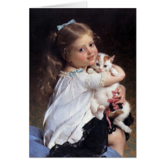 Her Best Friend | Little Girl With Kitten Card