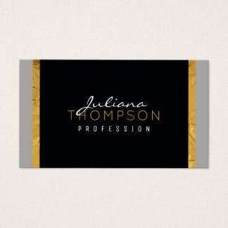 her elegant black, gold and gray luxe business card