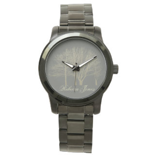 HER ELEGANT GREY GOLD FALL AUTUMN TREES Monogram Watch