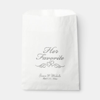 Her Favorite Treat Name and Date Favour Bags