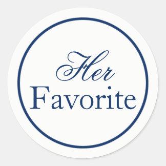 """""""Her Favourite"""" Wedding Favour Sticker - Navy"""