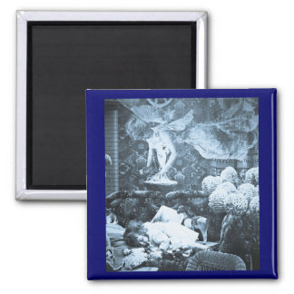 Her Guardian Angel -- Vintage Stereoview Square Magnet