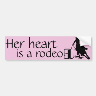 Her heart is a Rodeo Barrel Racing Horse Bumper Sticker