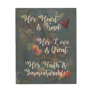 "Her Heart Is Kind Inspiration 8""x10"" Wood Wall Art Wood Print"