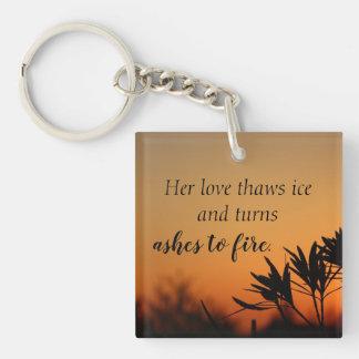 Her Love Romantic Sunset Photo Poetry Keychain