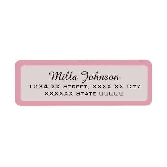 her name with pink border return address label