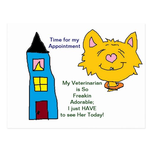Her Veterinarian Appointment Cards Postcards